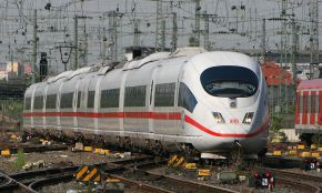 ICE 3 number 406 001-8 approaching Frankfurt Hauptbahnhof (Germany)