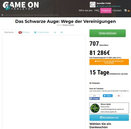 Informationsübersicht bei Game On TableTops